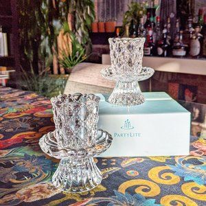 PartyLite quilted crystal candle holders